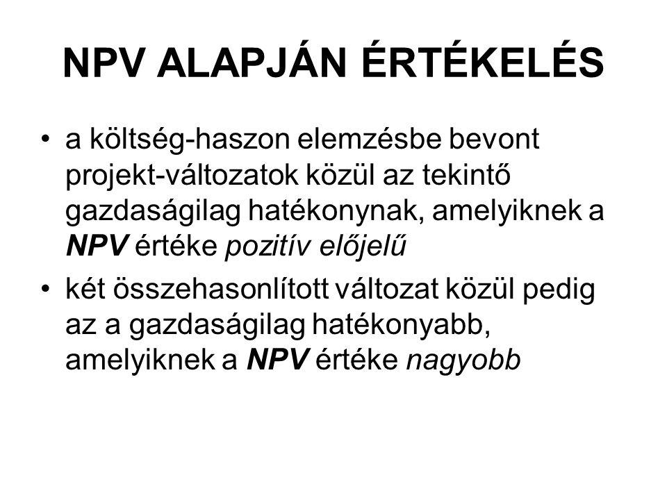 NPV ALAPJÁN ÉRTÉKELÉS