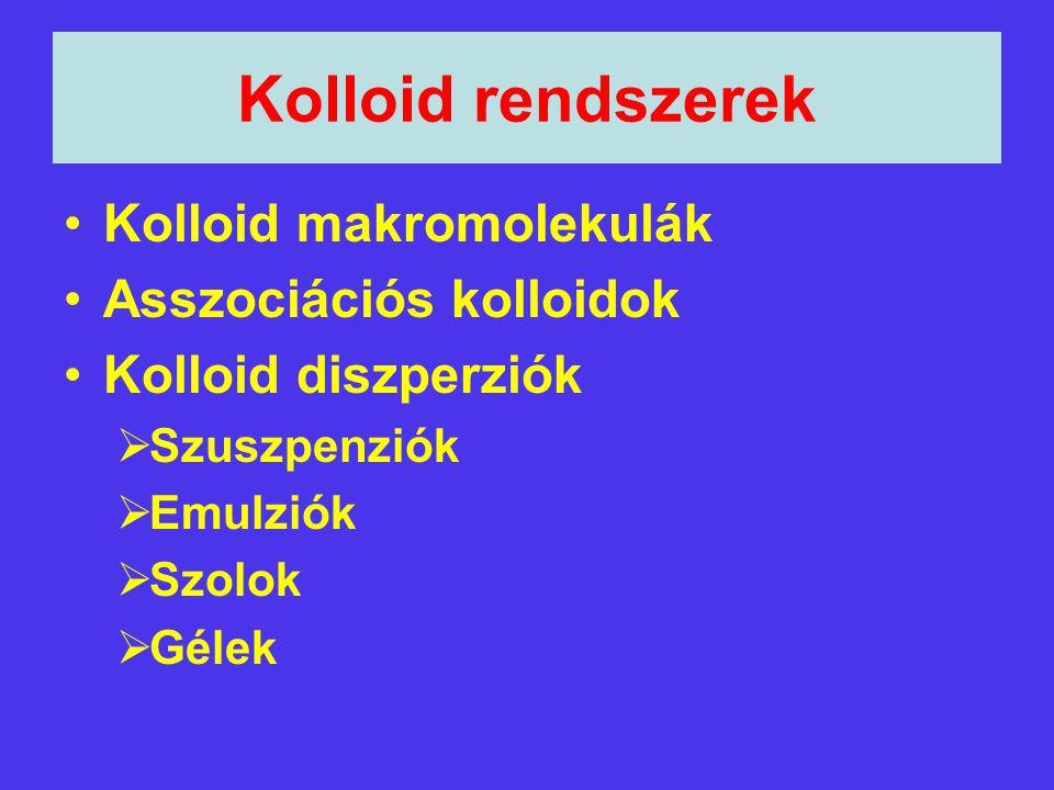 Kolloid rendszerek Kolloid makromolekulák Asszociációs kolloidok