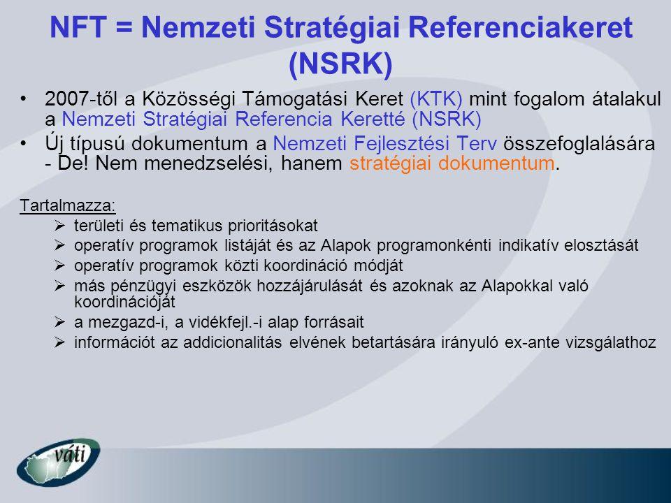 NFT = Nemzeti Stratégiai Referenciakeret (NSRK)