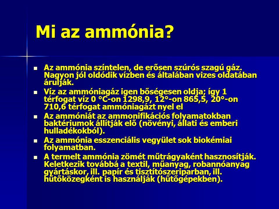 Mi az ammónia Az ammónia színtelen, de erősen szúrós szagú gáz. Nagyon jól oldódik vízben és általában vizes oldatában árulják.