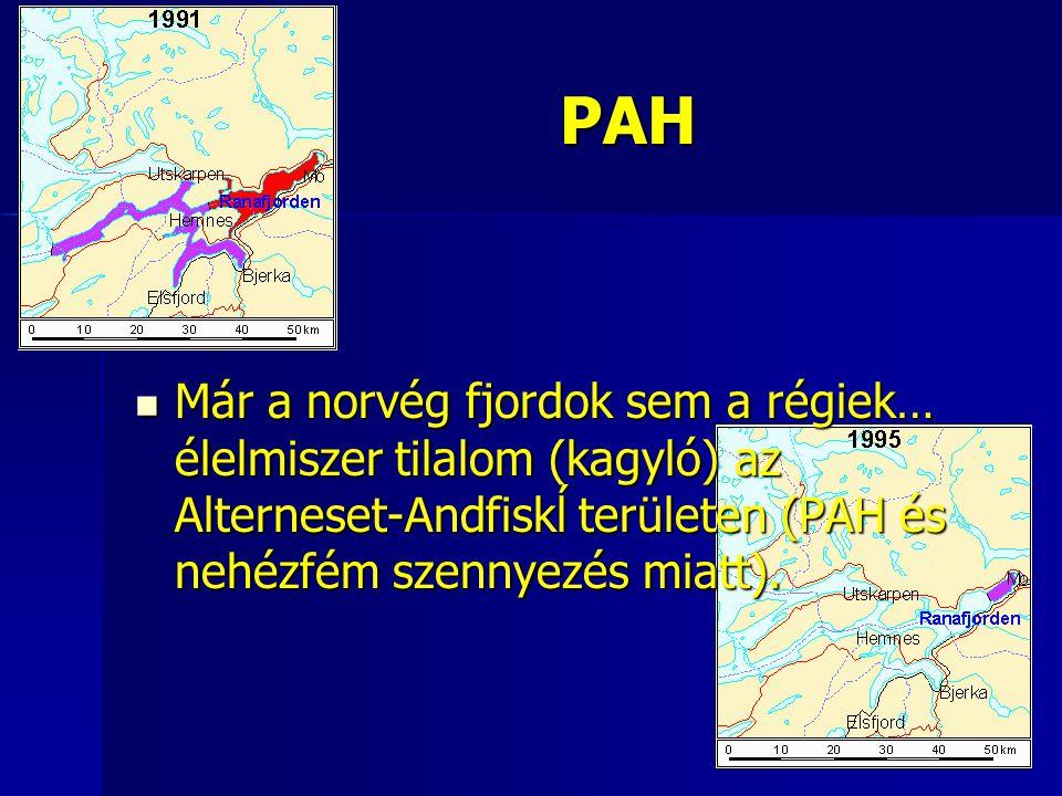 PAH Már a norvég fjordok sem a régiek… élelmiszer tilalom (kagyló) az Alterneset-Andfiskĺ területen (PAH és nehézfém szennyezés miatt).