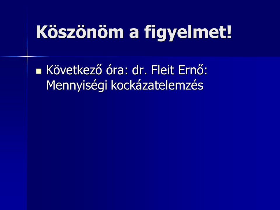 Köszönöm a figyelmet! Következő óra: dr. Fleit Ernő: Mennyiségi kockázatelemzés