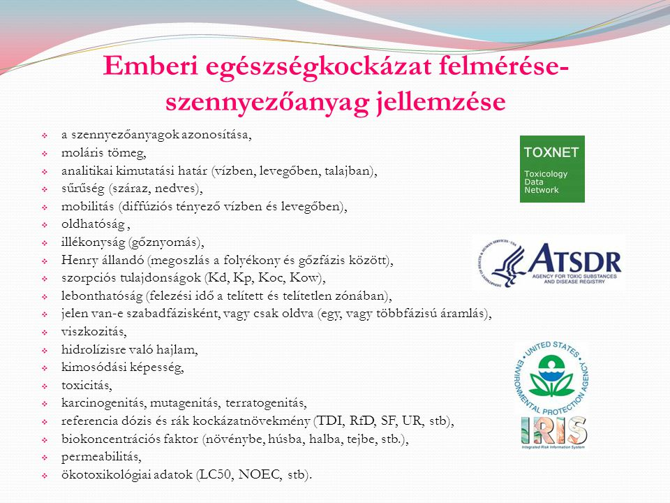 Emberi egészségkockázat felmérése-szennyezőanyag jellemzése