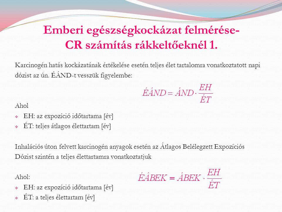 Emberi egészségkockázat felmérése- CR számítás rákkeltőeknél 1.