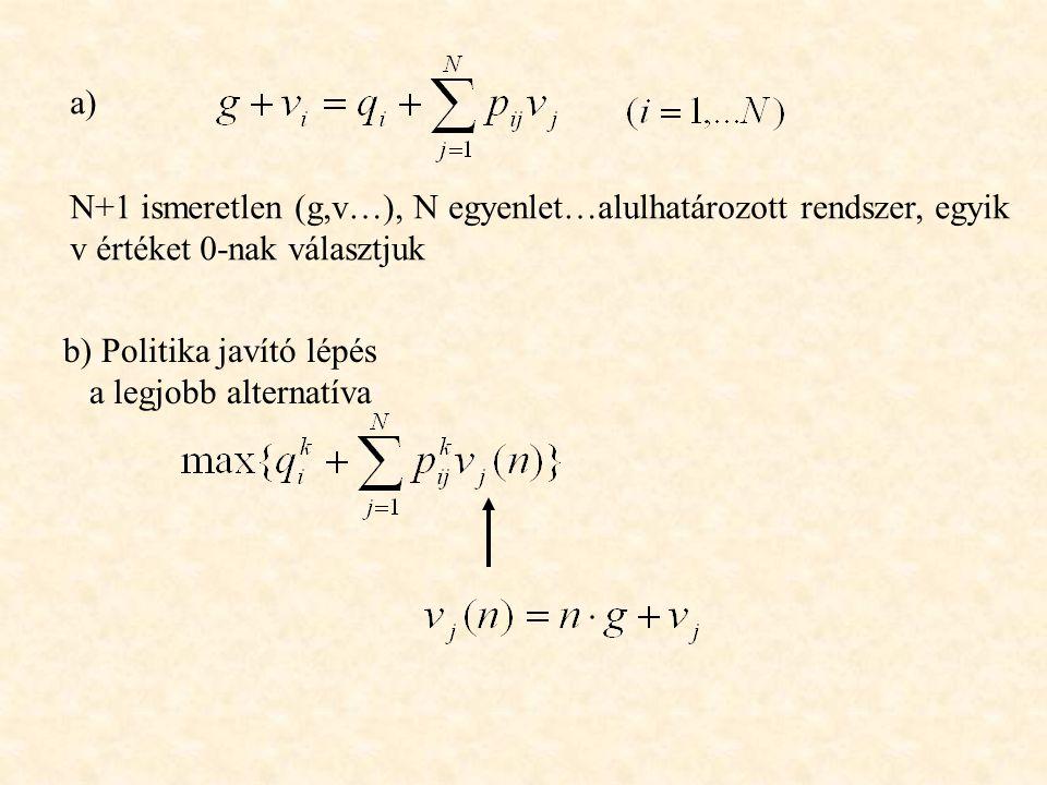 a) N+1 ismeretlen (g,v…), N egyenlet…alulhatározott rendszer, egyik. v értéket 0-nak választjuk. b) Politika javító lépés.