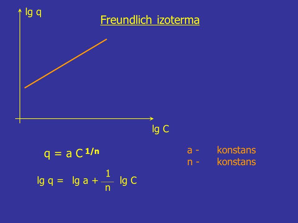 Freundlich izoterma q = a C 1/n lg q lg C a - konstans n - konstans =