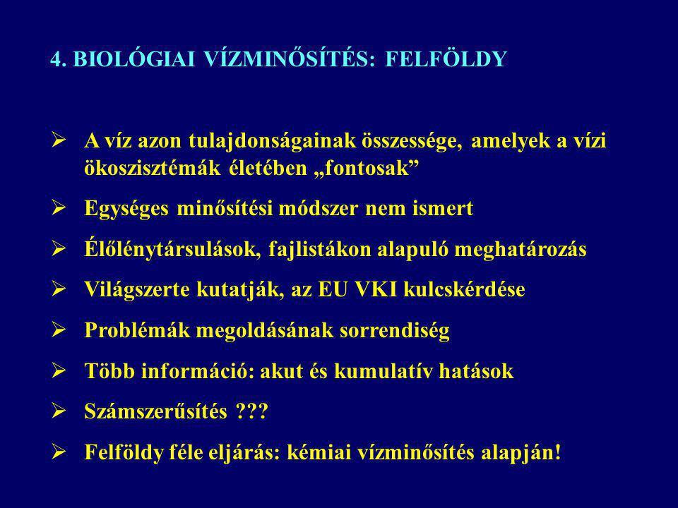 4. BIOLÓGIAI VÍZMINŐSÍTÉS: FELFÖLDY