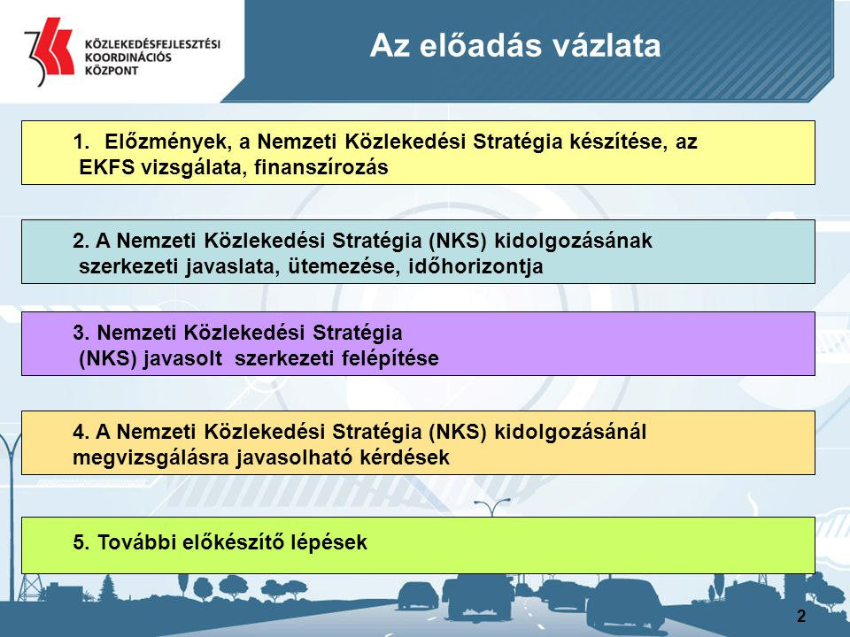 Az előadás vázlata Előzmények, a Nemzeti Közlekedési Stratégia készítése, az. EKFS vizsgálata, finanszírozás.