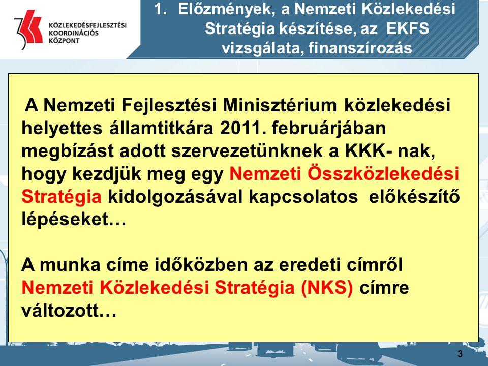 Előzmények, a Nemzeti Közlekedési Stratégia készítése, az EKFS vizsgálata, finanszírozás