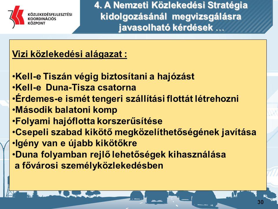 4. A Nemzeti Közlekedési Stratégia kidolgozásánál megvizsgálásra
