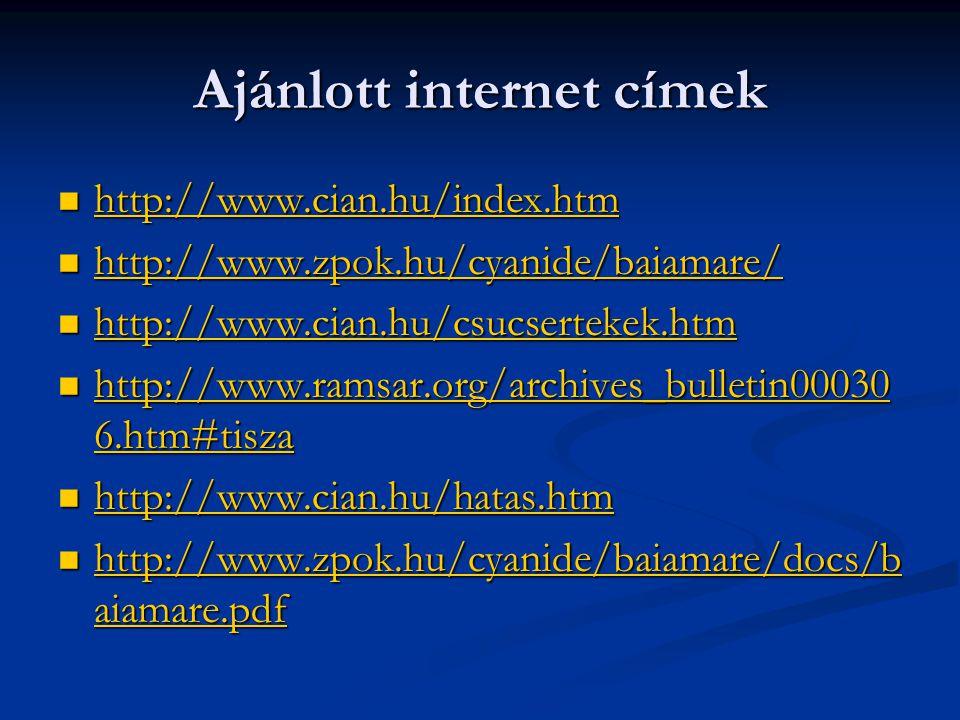 Ajánlott internet címek