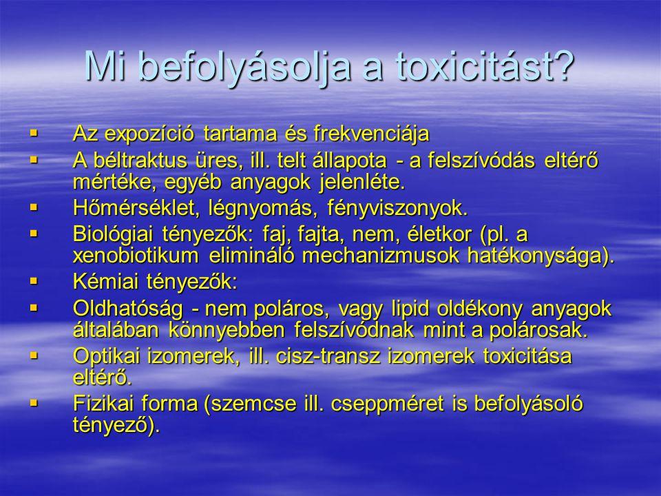 Mi befolyásolja a toxicitást