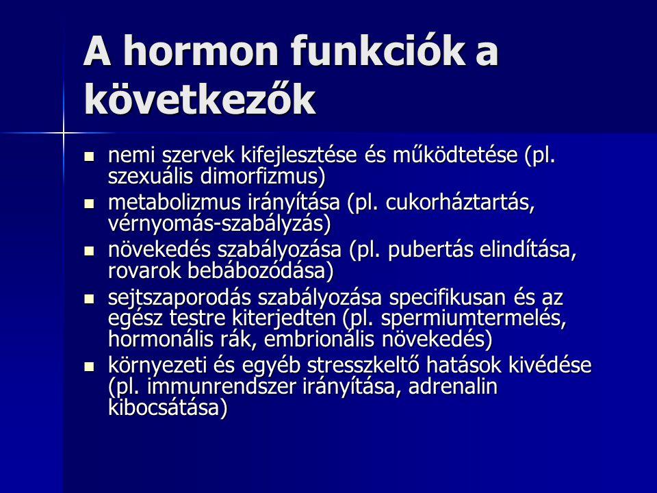 A hormon funkciók a következők