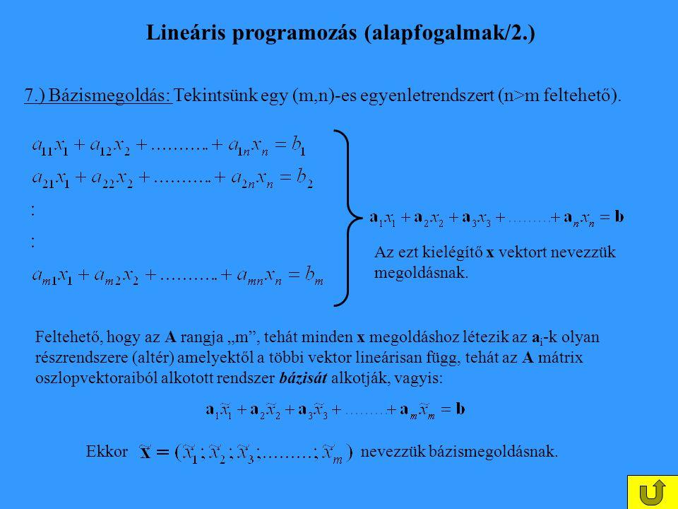 Lineáris programozás (alapfogalmak/2.)