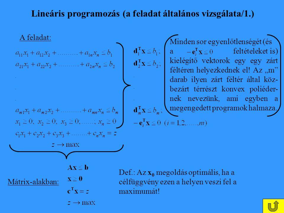 Lineáris programozás (a feladat általános vizsgálata/1.)