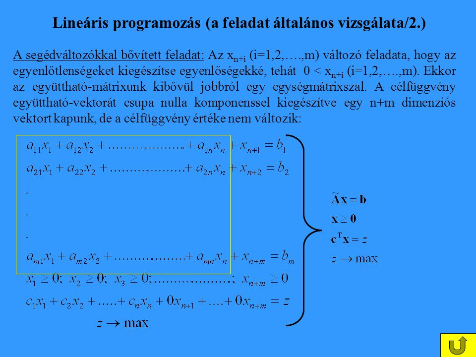Lineáris programozás (a feladat általános vizsgálata/2.)