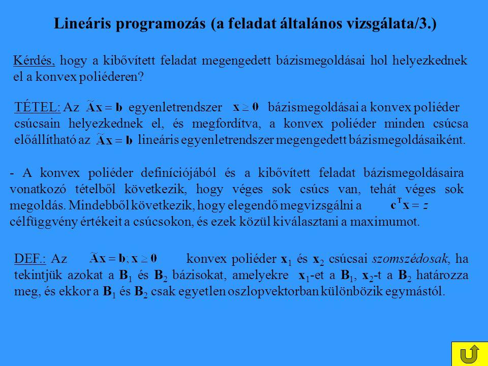 Lineáris programozás (a feladat általános vizsgálata/3.)