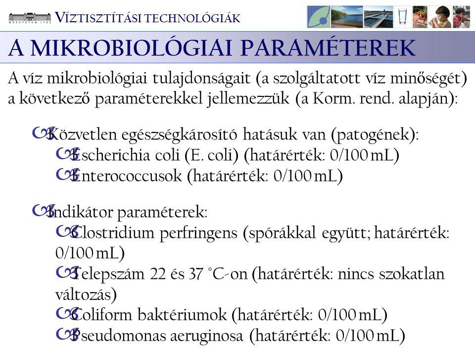 A MIKROBIOLÓGIAI PARAMÉTEREK