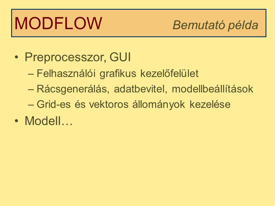MODFLOW Bemutató példa Preprocesszor, GUI Modell…