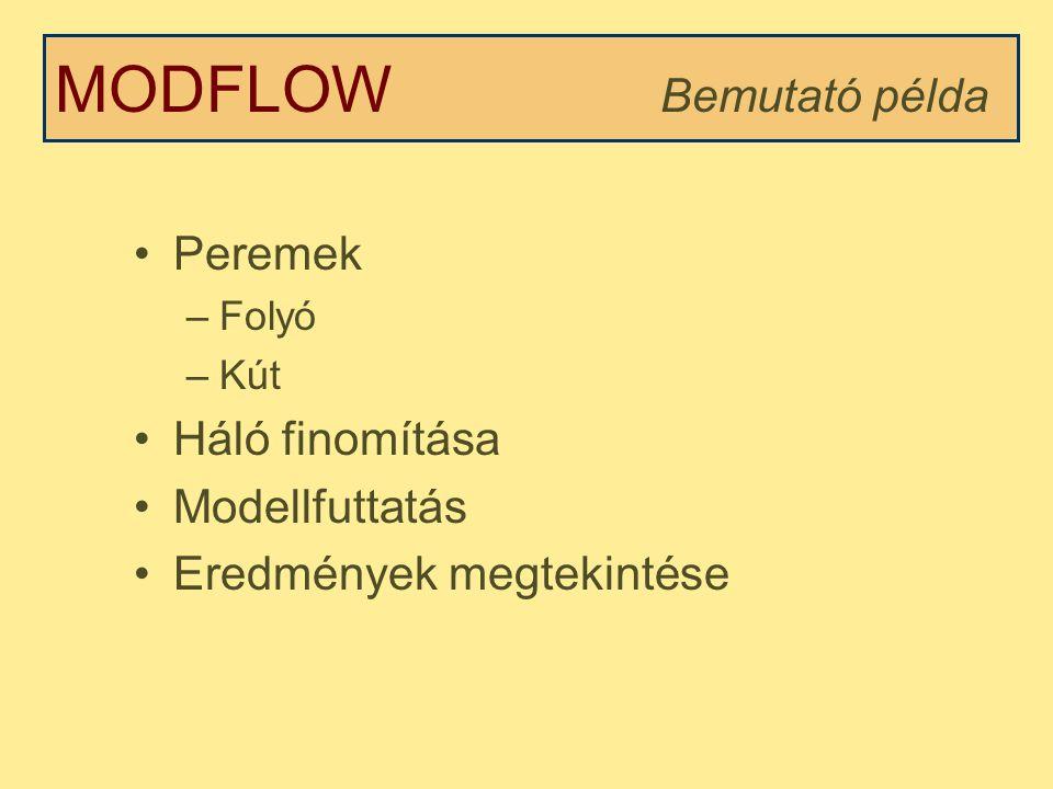 MODFLOW Bemutató példa Peremek Háló finomítása Modellfuttatás