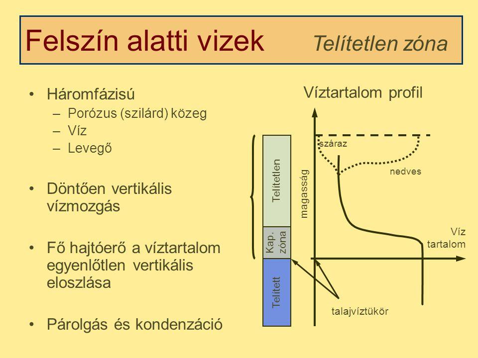 Felszín alatti vizek Telítetlen zóna Háromfázisú Víztartalom profil