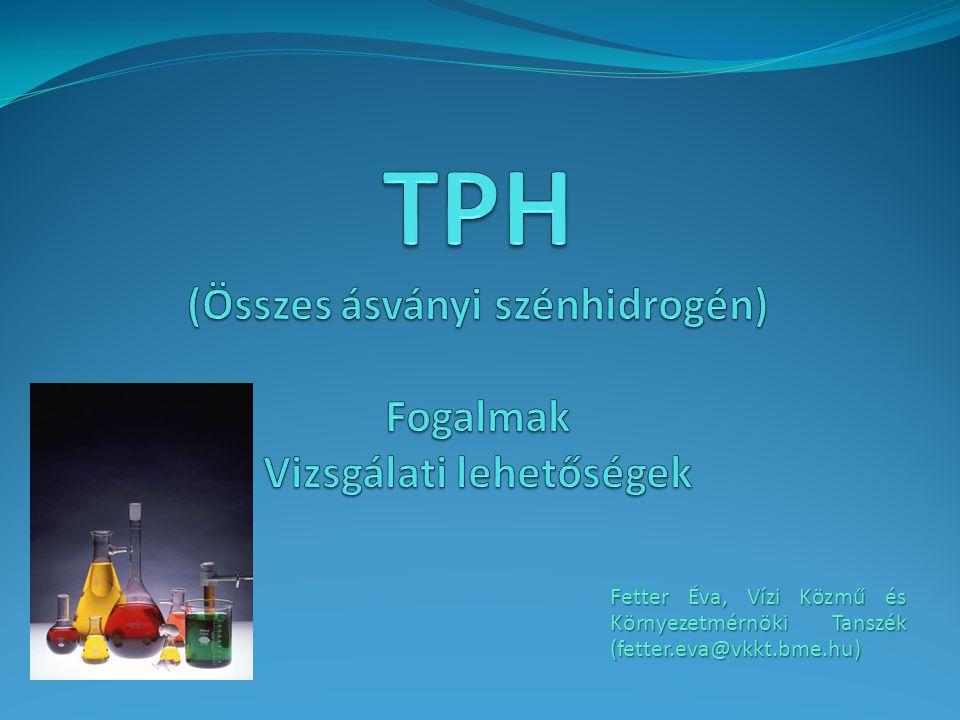 TPH (Összes ásványi szénhidrogén) Fogalmak Vizsgálati lehetőségek