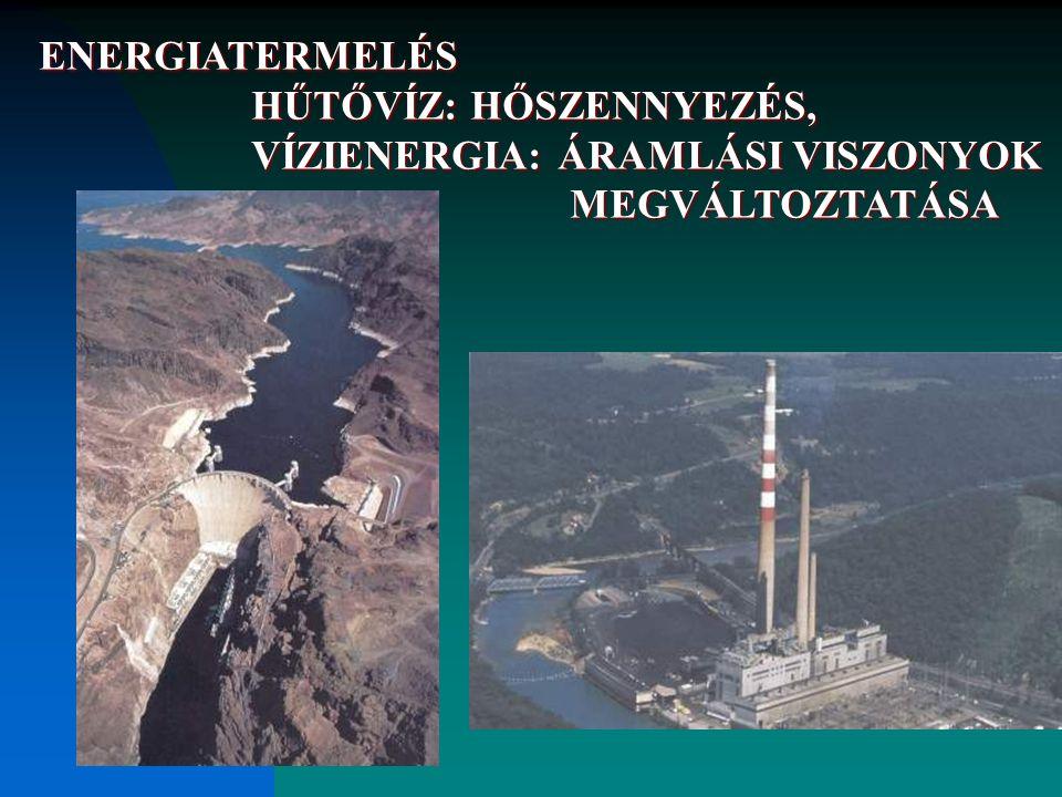 ENERGIATERMELÉS HŰTŐVÍZ: HŐSZENNYEZÉS, VÍZIENERGIA: ÁRAMLÁSI VISZONYOK MEGVÁLTOZTATÁSA