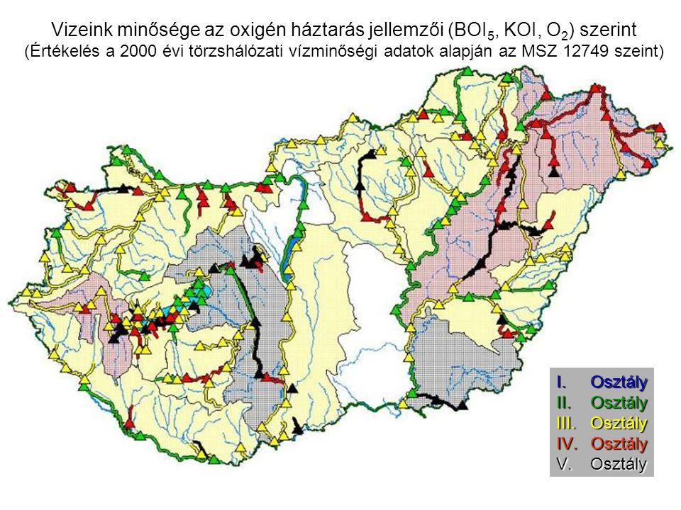Vizeink minősége az oxigén háztarás jellemzői (BOI5, KOI, O2) szerint