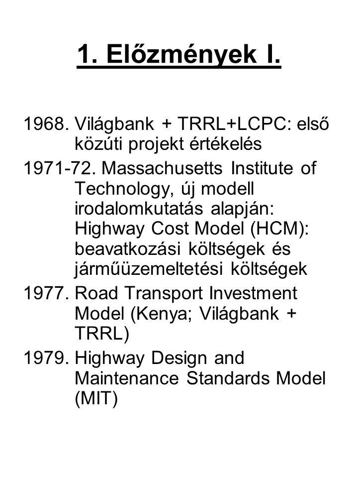 1. Előzmények I. 1968. Világbank + TRRL+LCPC: első közúti projekt értékelés.