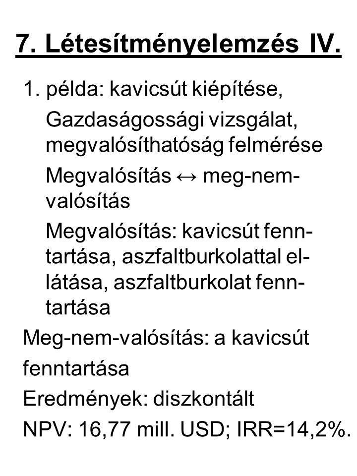 7. Létesítményelemzés IV.