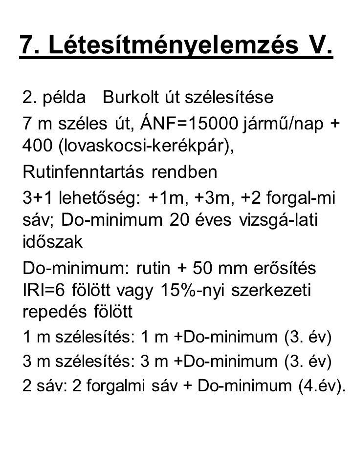 7. Létesítményelemzés V. 2. példa Burkolt út szélesítése