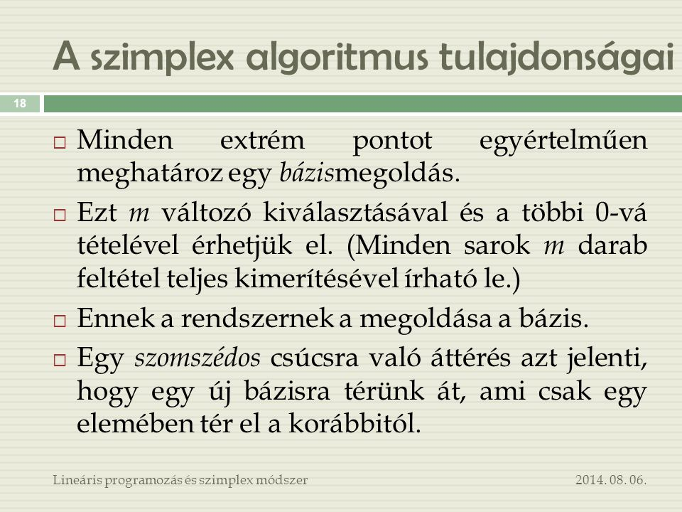 A szimplex algoritmus tulajdonságai