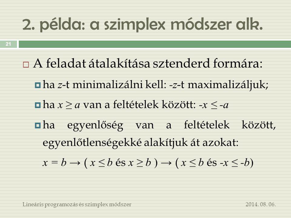 2. példa: a szimplex módszer alk.