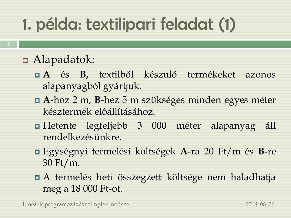1. példa: textilipari feladat (1)