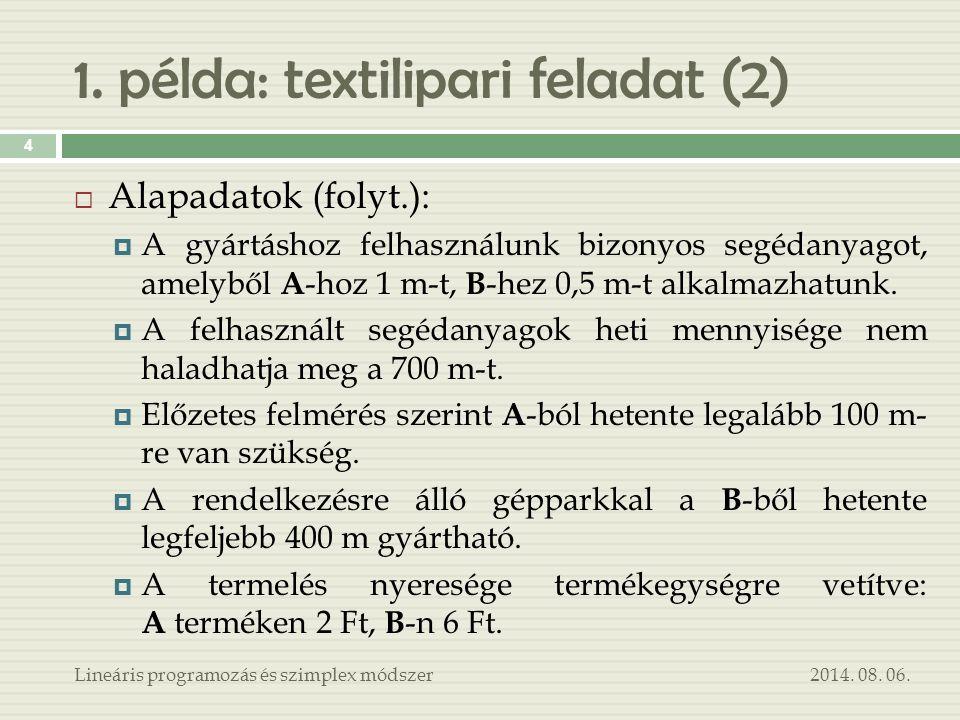 1. példa: textilipari feladat (2)