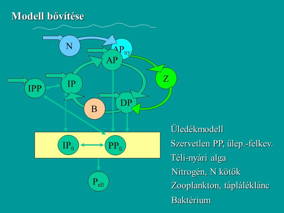 Modell bővítése N APny AP Z IP IPP DP B Üledékmodell IPü PPü