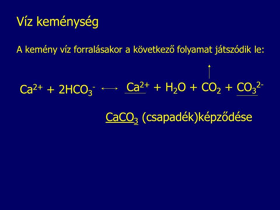 Víz keménység Ca2+ + H2O + CO2 + CO32- Ca2+ + 2HCO3-