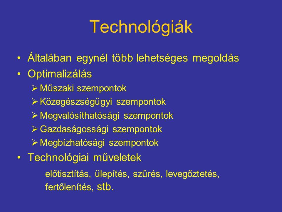 Technológiák Általában egynél több lehetséges megoldás Optimalizálás