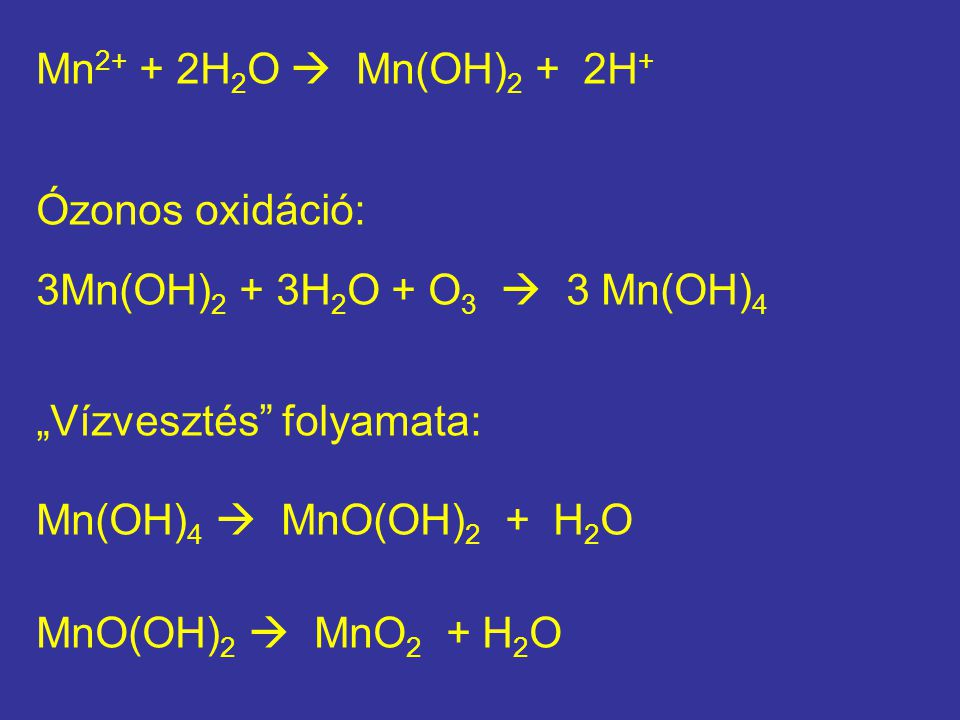 """Mn2+ + 2H2O  Mn(OH)2 + 2H+ Ózonos oxidáció: 3Mn(OH)2 + 3H2O + O3  3 Mn(OH)4. """"Vízvesztés folyamata:"""