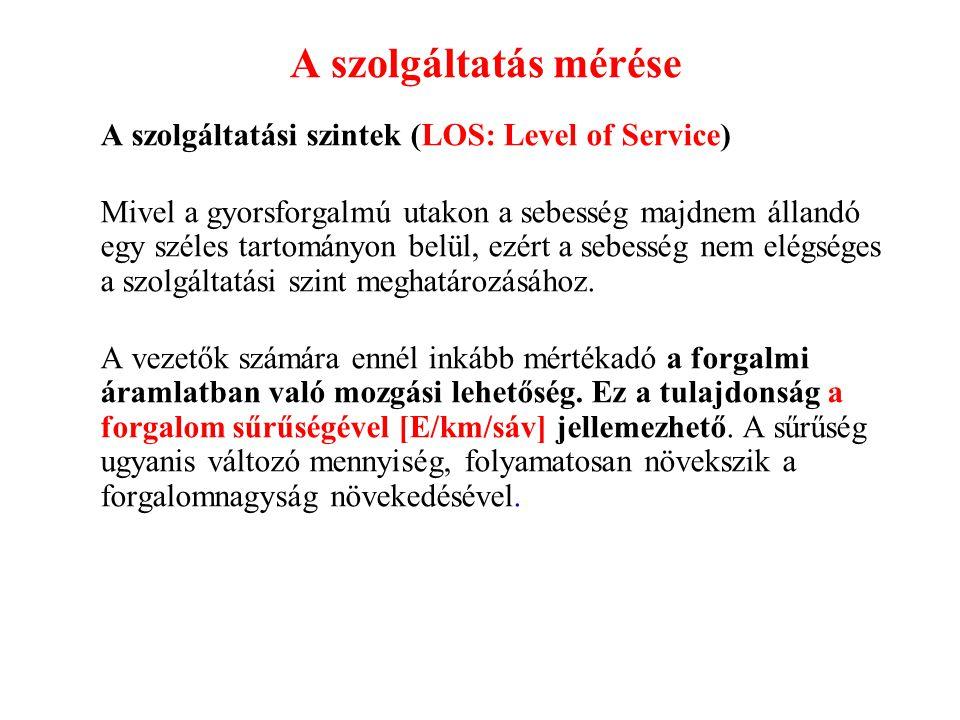 A szolgáltatás mérése A szolgáltatási szintek (LOS: Level of Service)