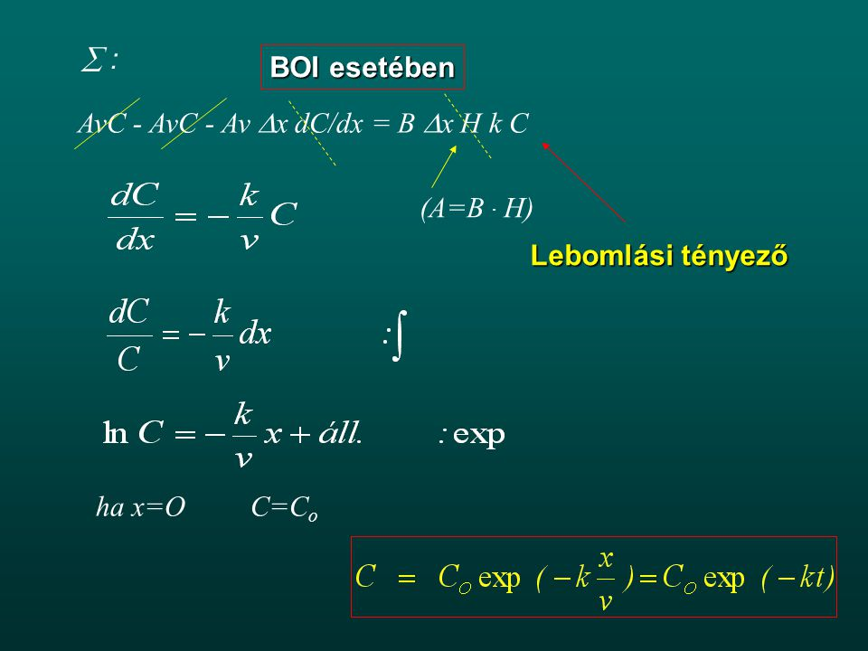  : BOI esetében. AvC - AvC - Av x dC/dx = B x H k C.