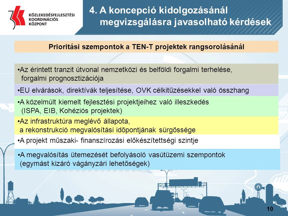 Prioritási szempontok a TEN-T projektek rangsorolásánál