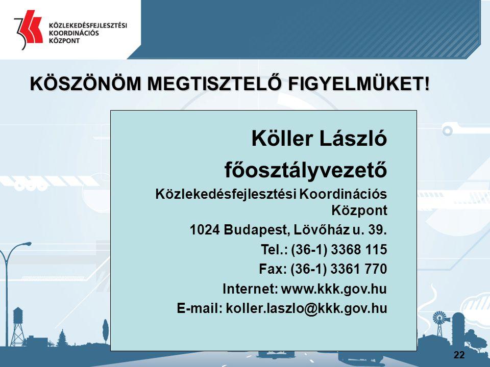 Köller László főosztályvezető KÖSZÖNÖM MEGTISZTELŐ FIGYELMÜKET!