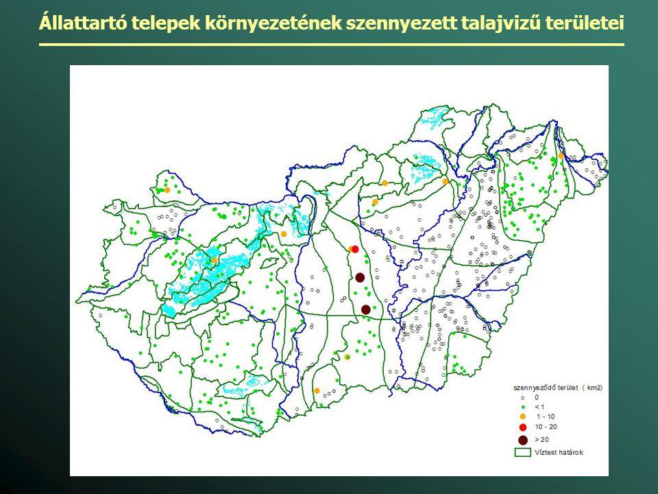 Állattartó telepek környezetének szennyezett talajvizű területei