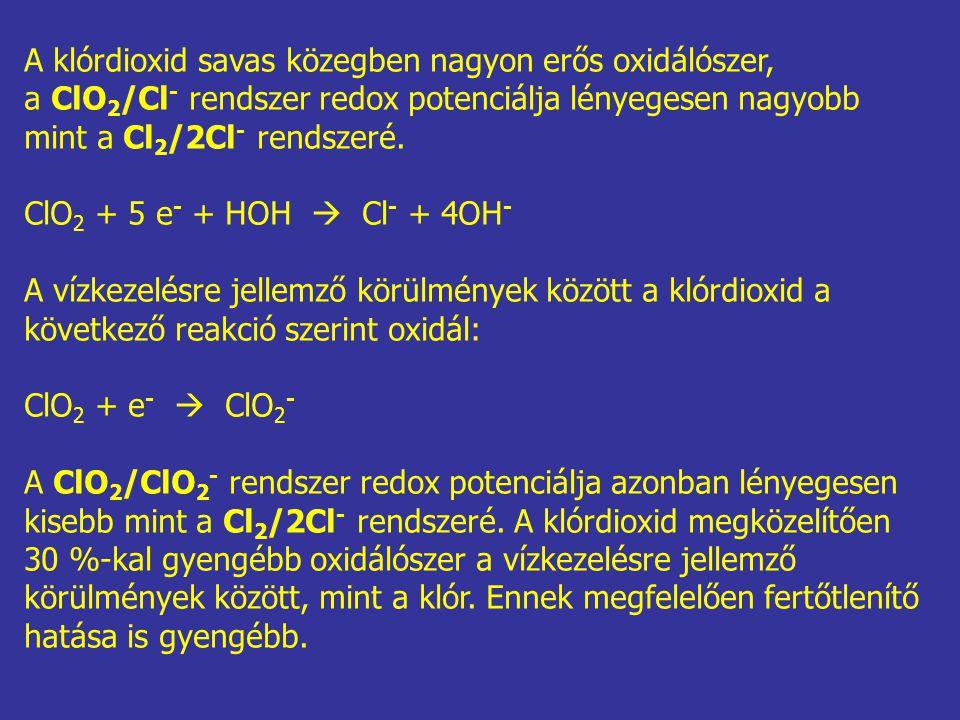 A klórdioxid savas közegben nagyon erős oxidálószer,