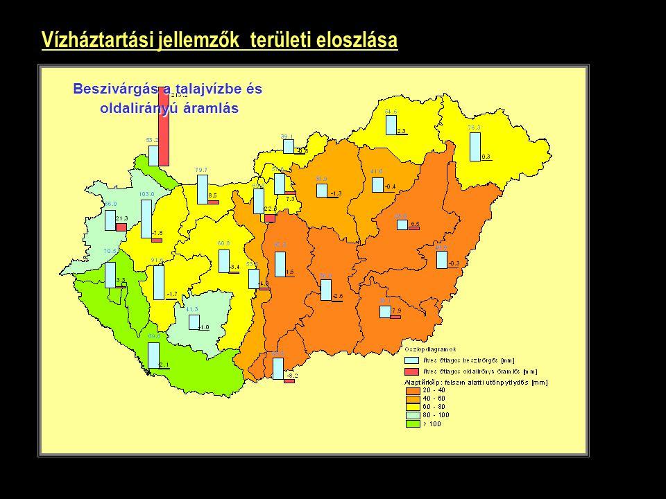 Vízháztartási jellemzők területi eloszlása Beszivárgás a talajvízbe és