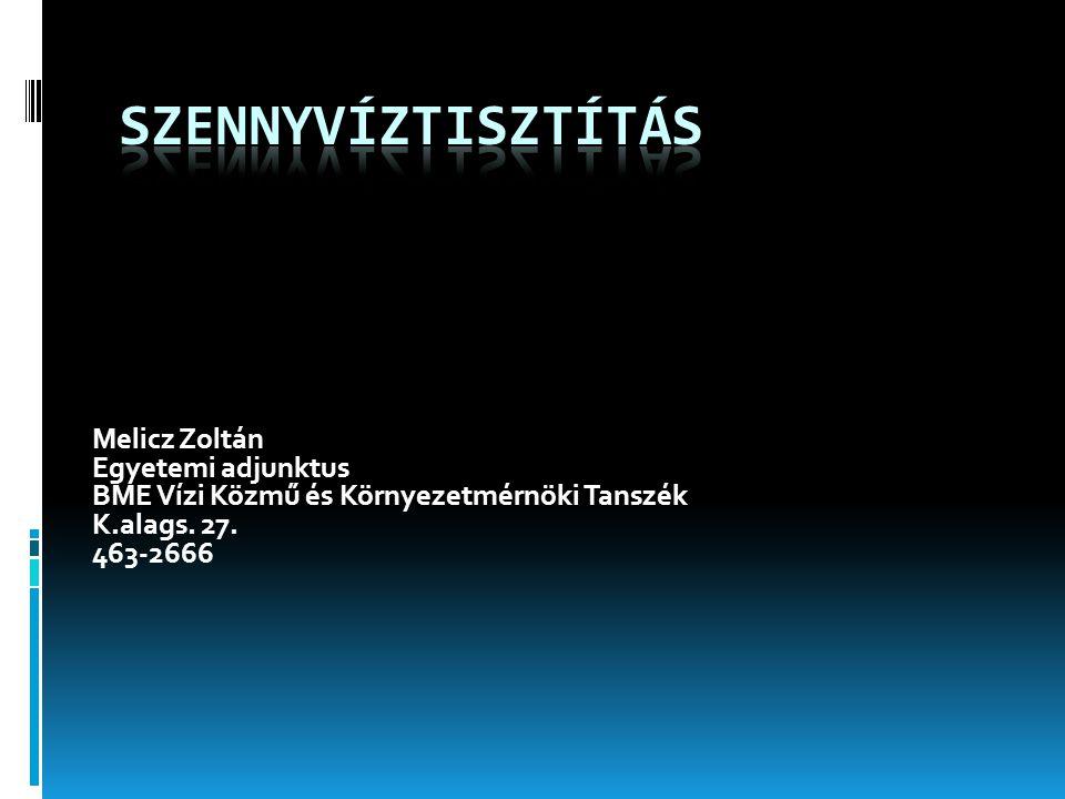 Szennyvíztisztítás Melicz Zoltán Egyetemi adjunktus