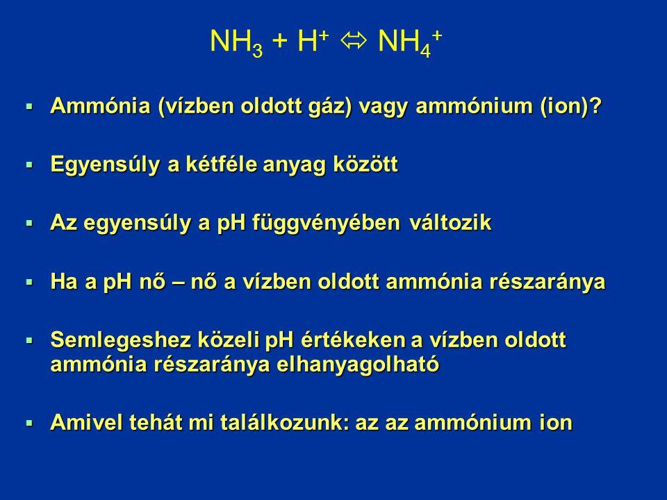 NH3 + H+  NH4+ Ammónia (vízben oldott gáz) vagy ammónium (ion)