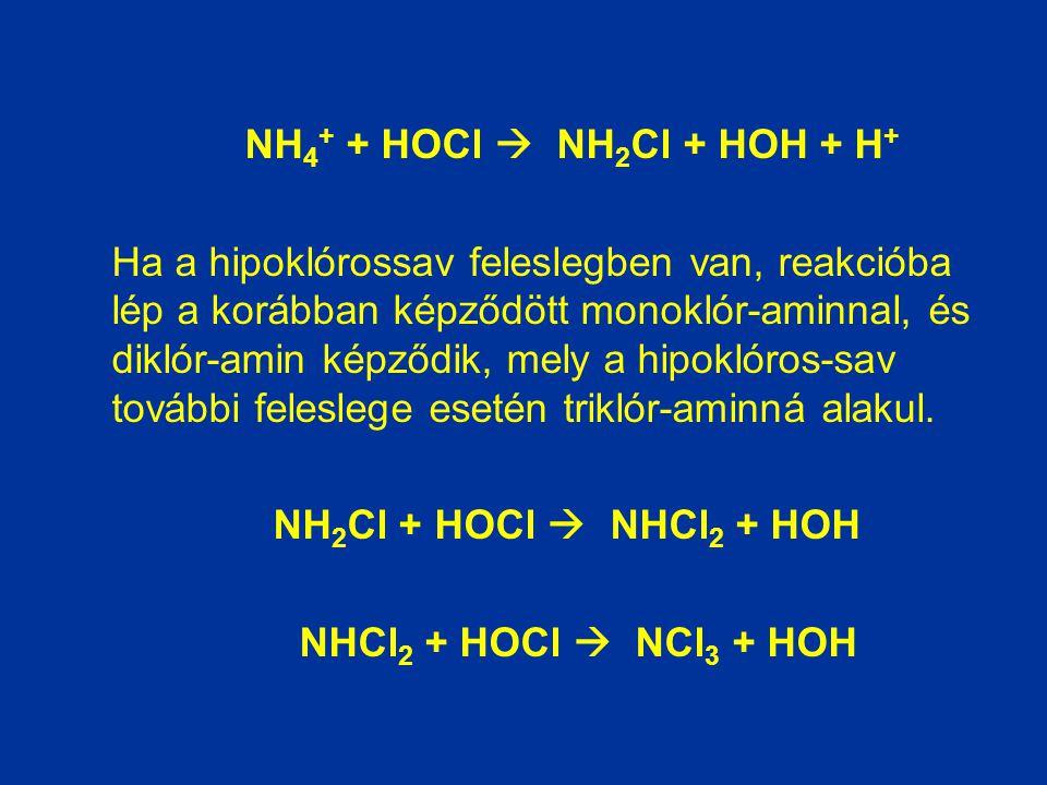 NH4+ + HOCl  NH2Cl + HOH + H+