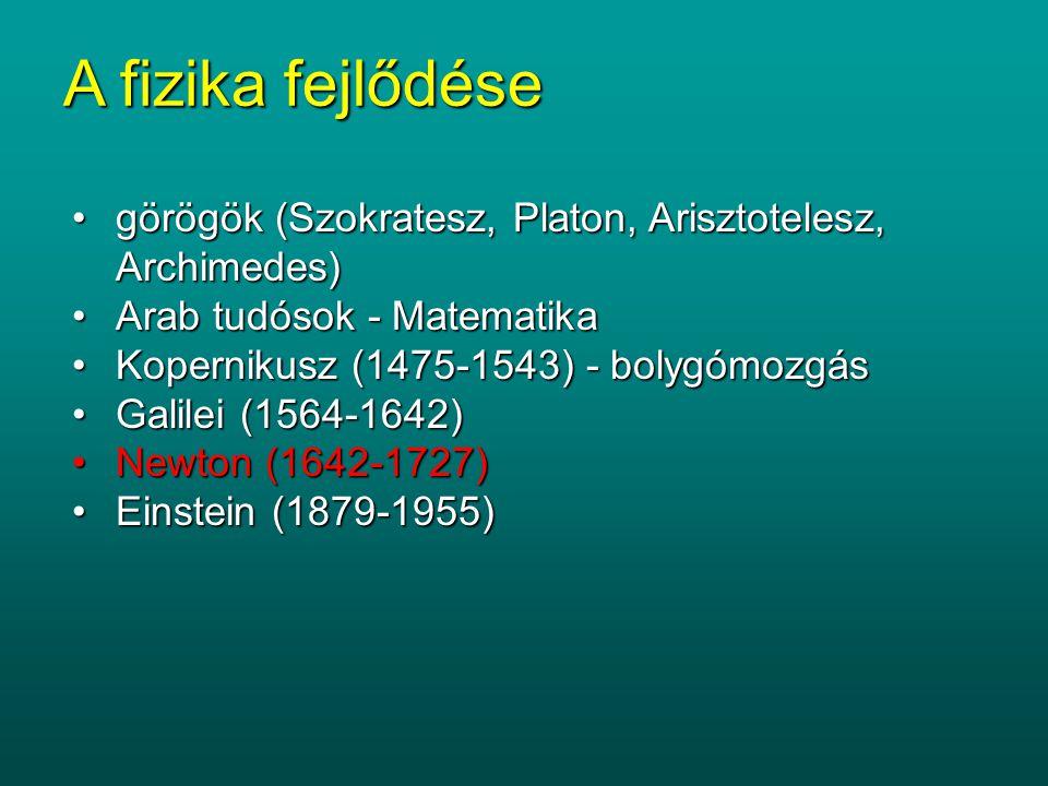 A fizika fejlődése görögök (Szokratesz, Platon, Arisztotelesz, Archimedes) Arab tudósok - Matematika.